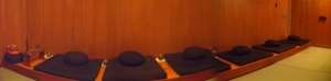 Cushions in a row in Zendo