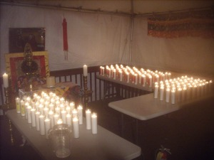 Many candles outside of the Drubchen