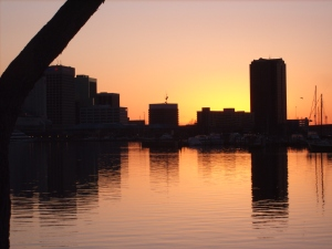 Sunrise over Portsmouth Virginia