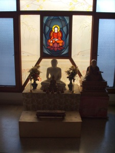 One of the shrines at the World Buddhist Center in Delhi