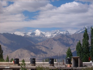 snow capped peaks, view from the guest house, Leh Ladakh