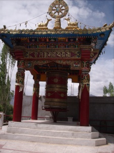 Large prayer wheels, common in Ladakh