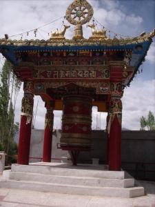 Large prayer wheels, common in Ladakh
