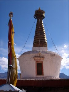 Stupa from Shey palace, Ladakh India, capped in gold