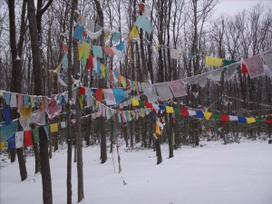 prayer flags around the snowy stupa