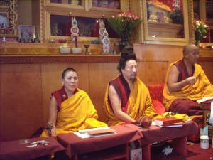 Khenpo Tsultrim, Drupon Rinchen Dorge and Tsunma Khandro (right to left)