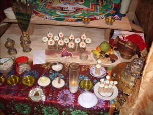 viewing the mandala and Mani Drupchen ritual items