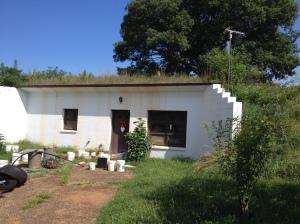 A farmer's house under a grass rooftop